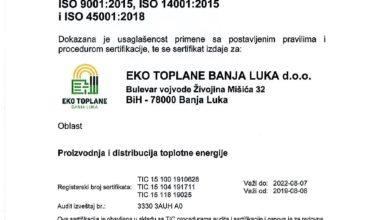 Еко топлане добиле сертификате ISO 9001:2015, ISO 14001:2015 и ISO 45001:2018